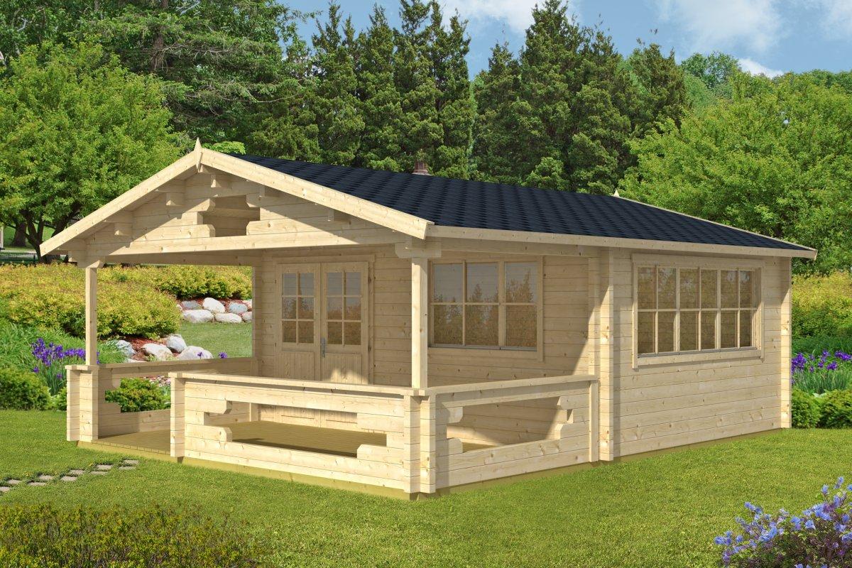 Gartenhaus mit Veranda Armin 18,8m² / 70mm / 5x7 - Casetas de Jardin 24