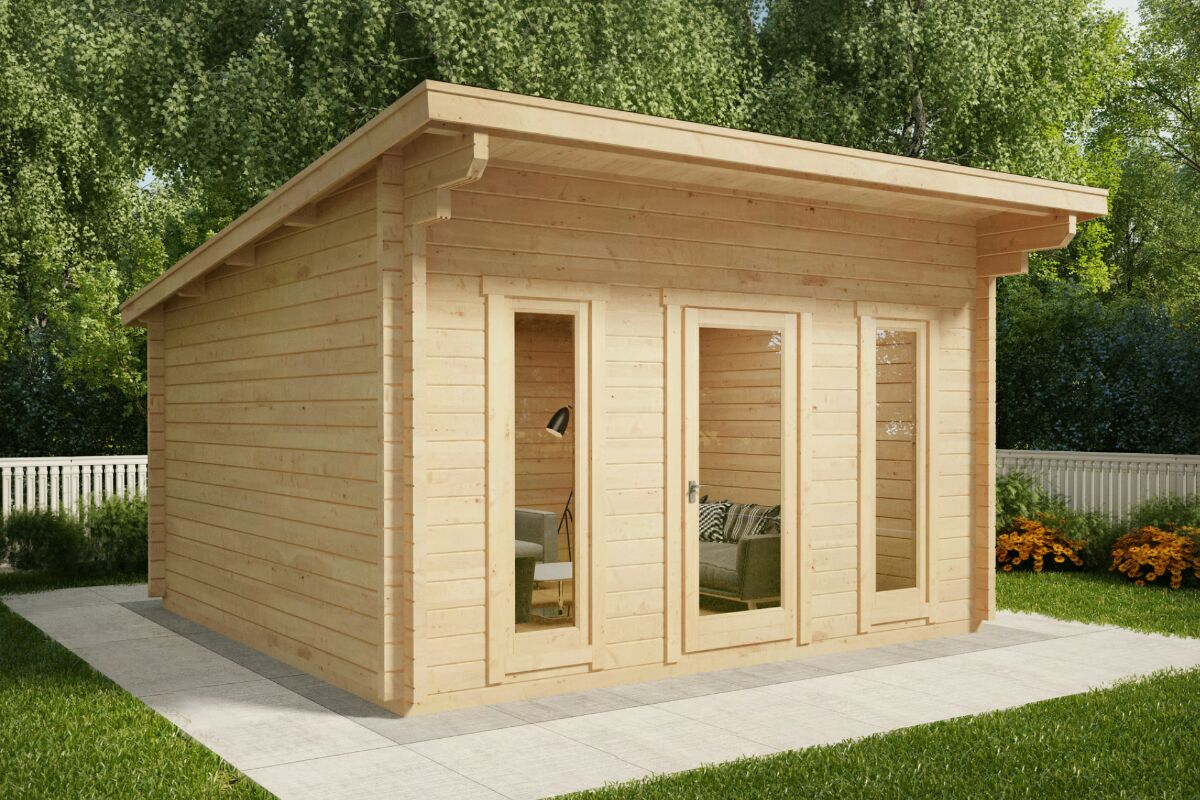gartenhaus mit pultdach aruba 15m² / 44mm / 4x4 - casetas de jardin 24