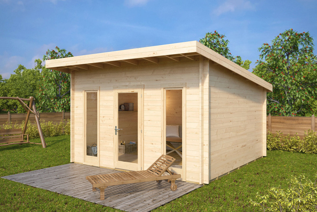 Caseta de jardín Aruba 15m2 / 4x4m / 44mm