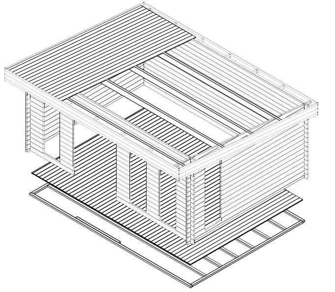 Caseta de madera Barbados 21m2 / 6 x 4 m / 44mm