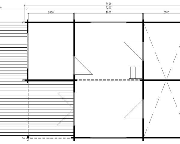 Casa de madera Copenhagen 31m2 / 5x7m / 58mm