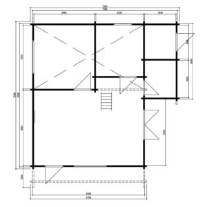 Casa de madera Dallas 43m2 / 7 x 7 m / 70mm