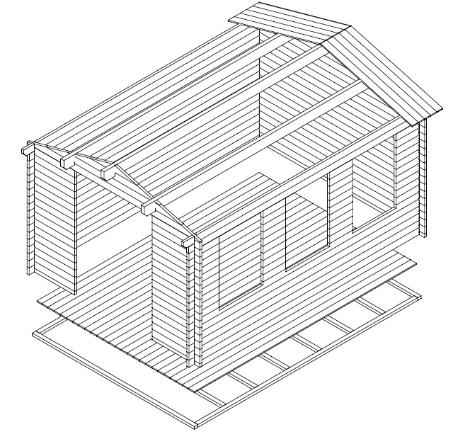 Caseta de jardín Eva B 12m2 / 4x3m / 40mm