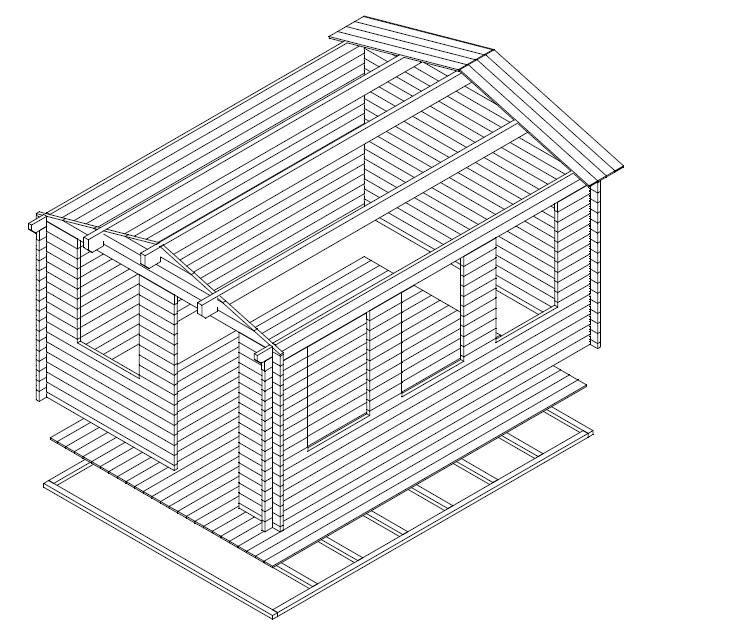 Caseta de jardín Eva C 12m2 / 4x3m / 40mm