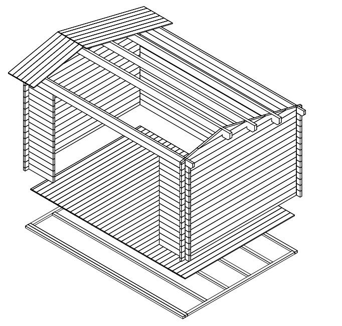Caseta de jardín Eva E 12m2 / 4x3m / 44mm
