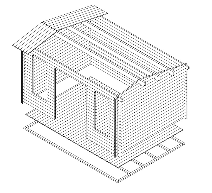Caseta de jardín Jacob D 12m2 / 3x4m / 40mm