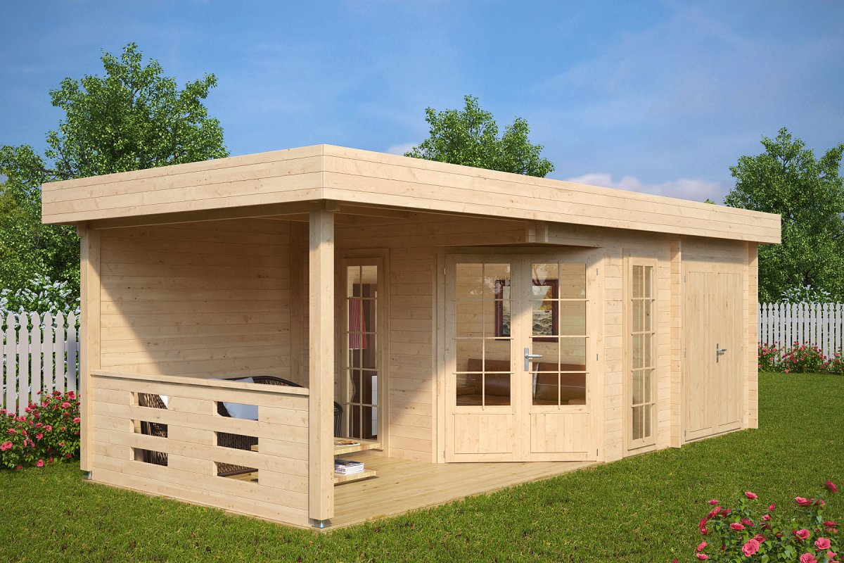 summer house with shed paula 12 5m 7 5 x 3 2 m 40mm. Black Bedroom Furniture Sets. Home Design Ideas