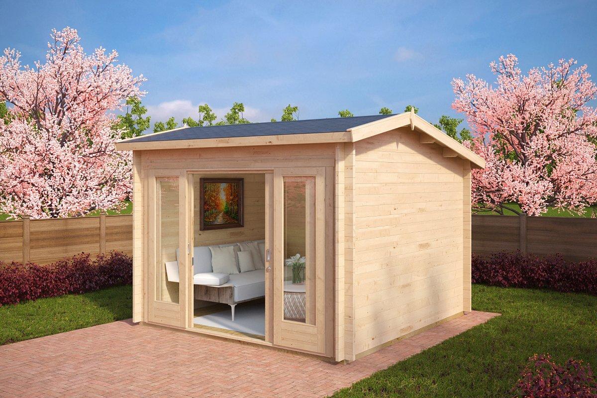 modernes gartenhaus mit schiebet r nora e 8 5m 44mm 3x3m casetas de jardin 24. Black Bedroom Furniture Sets. Home Design Ideas