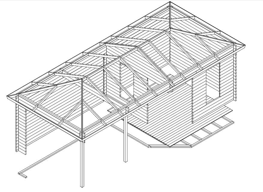 Caseta de jardín Sophia 10m2 / 8x3m / 44mm