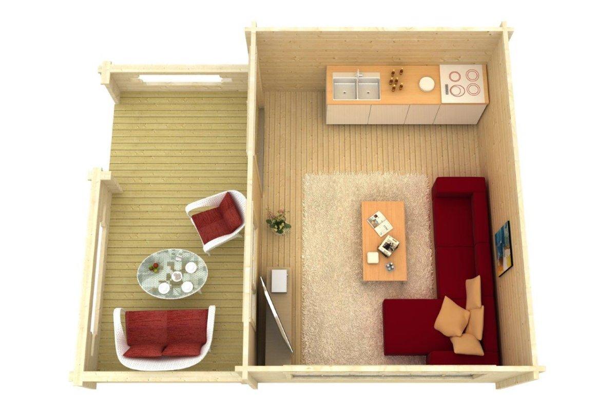 Caseta de madera Armin 19m2 / 5 x 7 m / 70mm