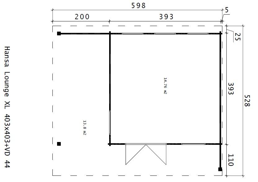 Caseta de jardín Hansa Lounge 11,5m² / 5 x 5 m / 44mm