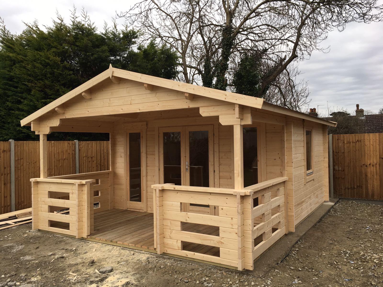 Holz Gartenhaus Mit Terrasse Henry 15m² 44mm 4 6