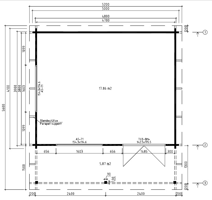 Caseta de jardín Ian C 18m2 / 5 x 4 m / 58mm