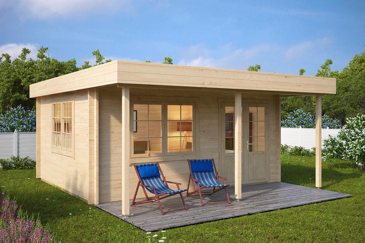 Holz Gartenhaus mit Vordach Ian C 18m² / 50mm / 4x5   Casetas de