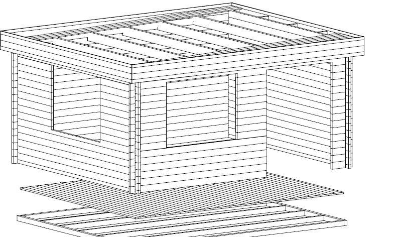 Caseta de jardín Ian A 18m2 / 5x4m / 58mm