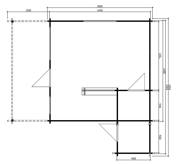 Casa de madera Jan 25m2 / 6x5m / 58mm