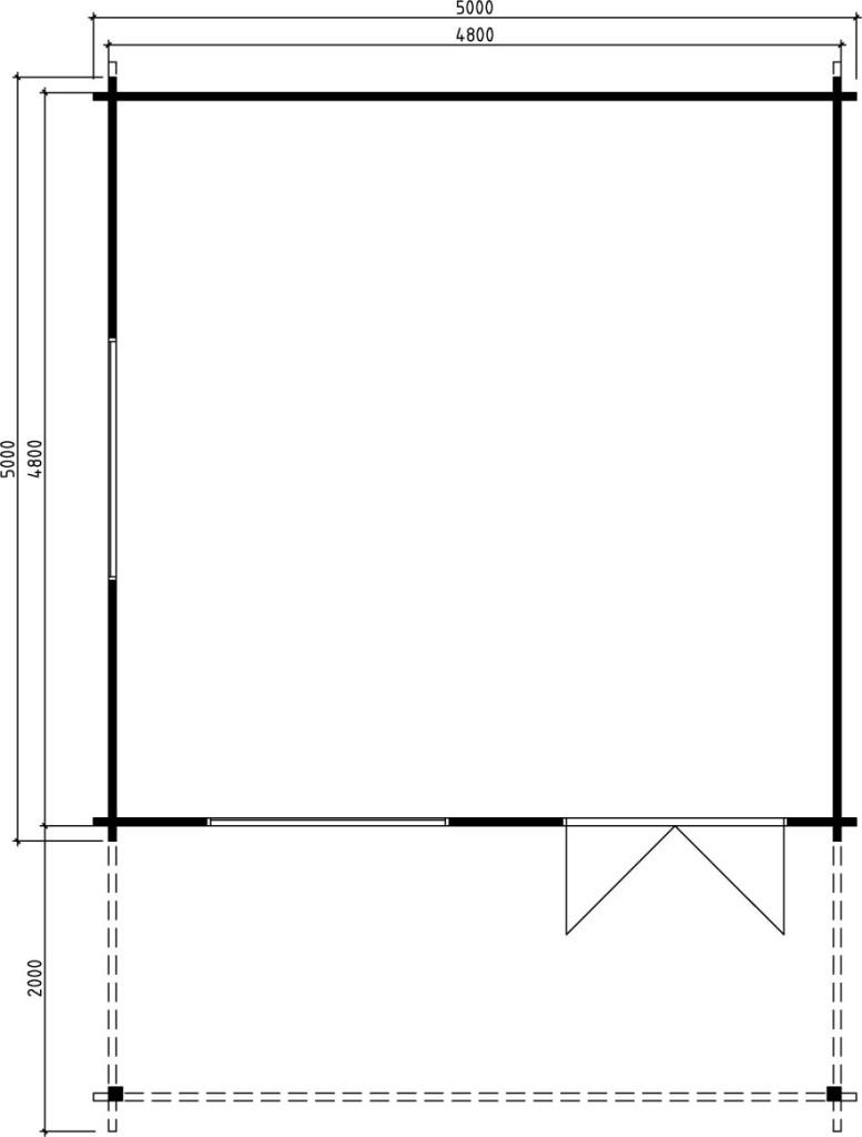 Caseta de madera 22m2 / 5x5m / 58mm