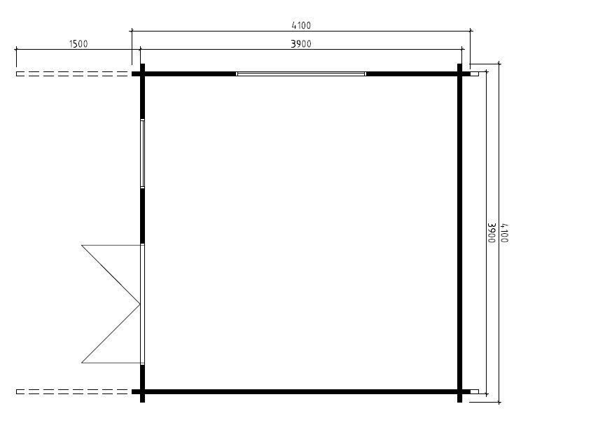 Caseta de madera Marcus B 15m2 / 4x4m / 58mm
