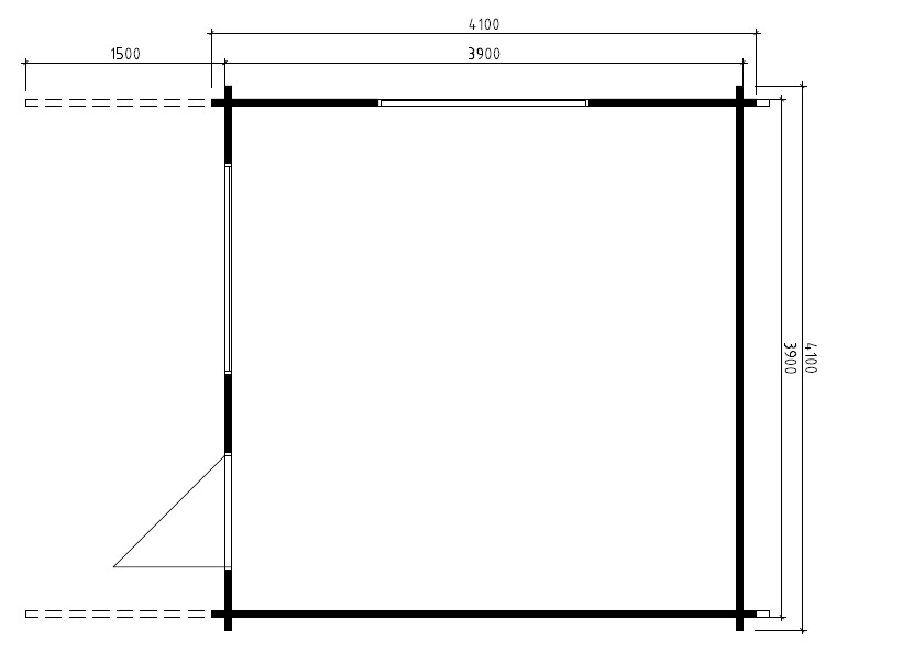Caseta de madera Marcus A 15m2 / 4 x 4 m / 58mm