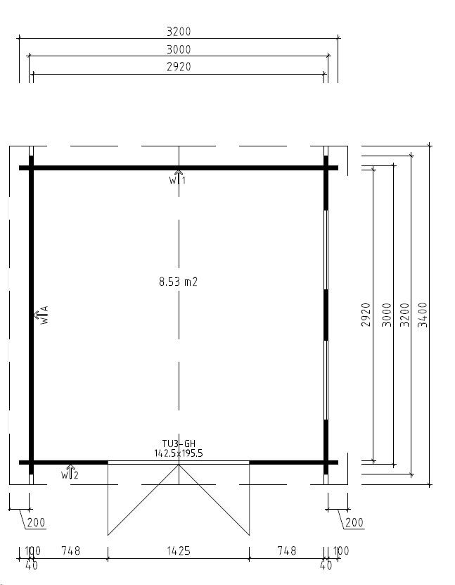 Caseta de jardín Nora B / 3 x 3 m / 40mm
