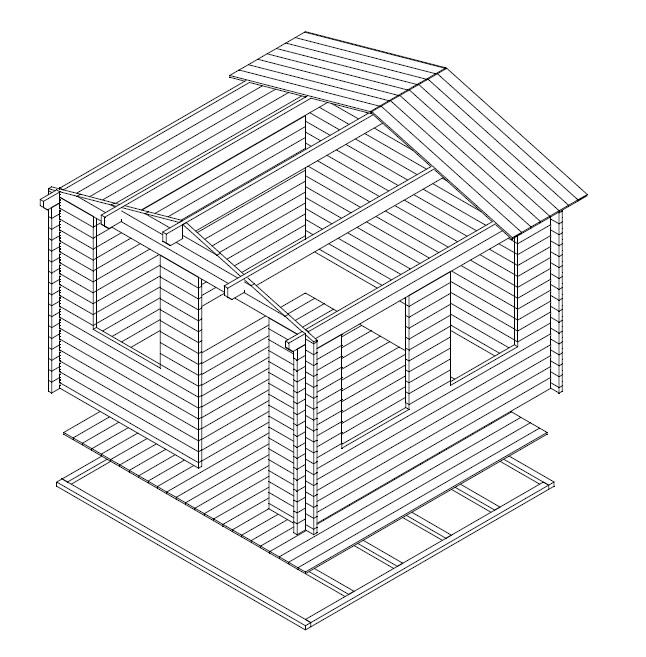Caseta de jardín Nora C / 3 x 3 m / 40mm