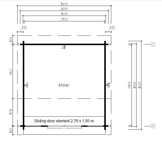Caseta de jardín Nora E 9m2 / 3x3m / 44mm