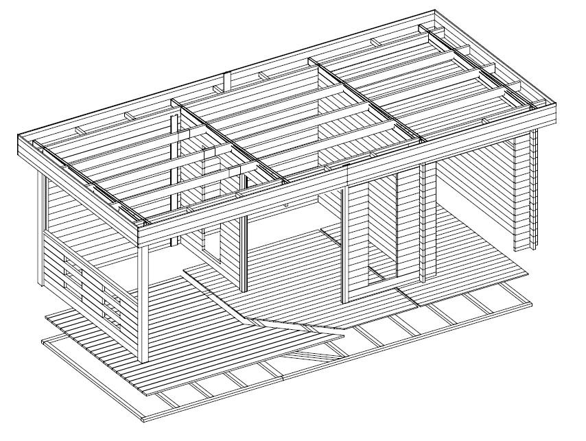 Caseta de madera Paula 12m2 / 7x3m / 40mm