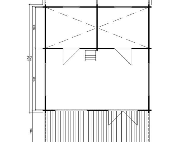 Casa de madera Stockholm 25m2 / 5 x 5 m / 58mm