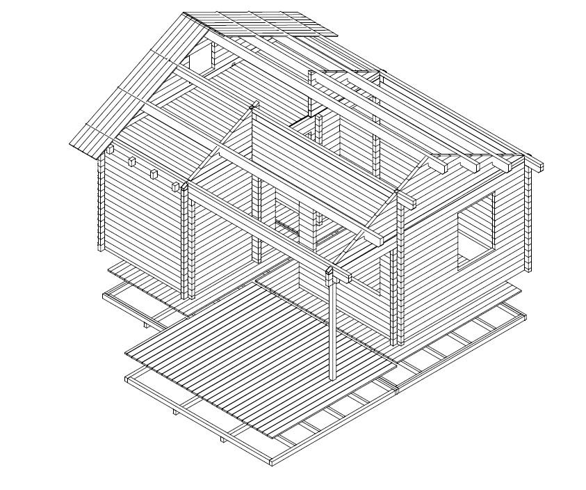 Casa de madera Oklahoma 26m2 / 6x5m / 70mm