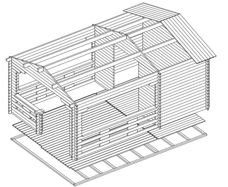 Caseta de jardín Vera 7m2 / 4 x 6 m / 44mm