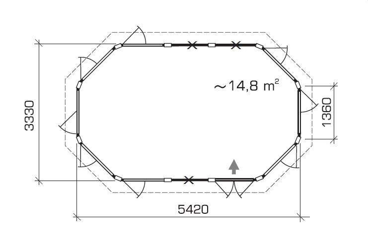 Caseta de verano Albatros XL 15m2 / 5 x 3 m / 21mm
