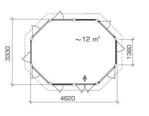Caseta de verano Albatros XL 12m2 / 4 x 3 m / 21mm