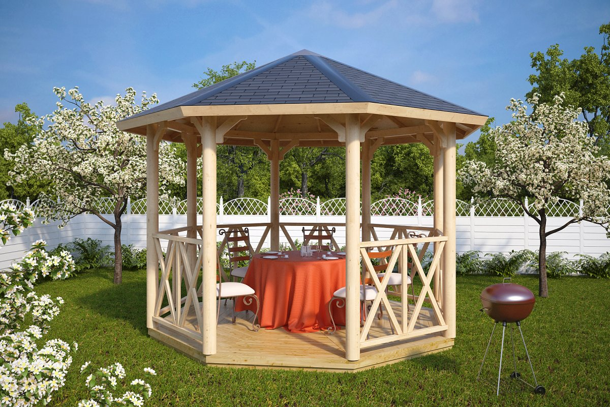 Cenador de madera Lotte L 9m2 / 3,6 x 3,6 m