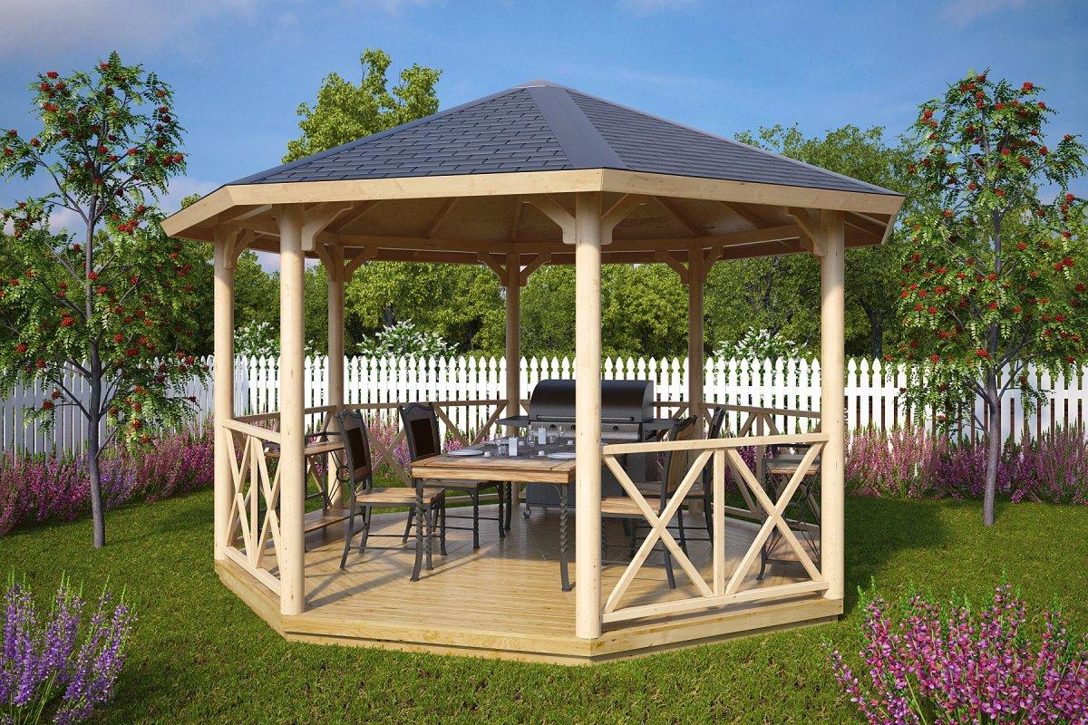 Cenador de madera Lotte XL 15m2 / 4,4 x 4,4 m