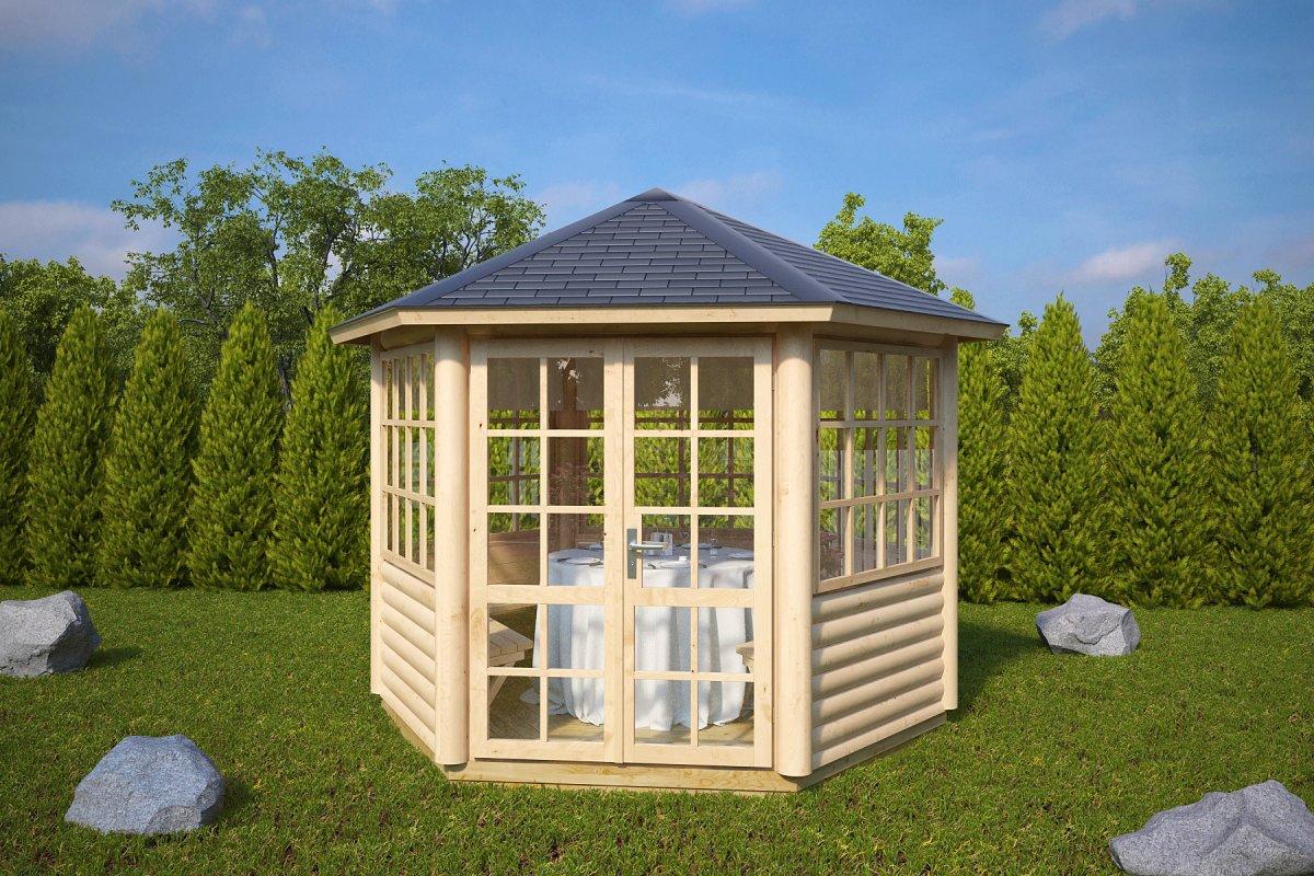 6 eck gartenpavillon seattle 6 m 55mm 3x3 casetas de jardin 24. Black Bedroom Furniture Sets. Home Design Ideas