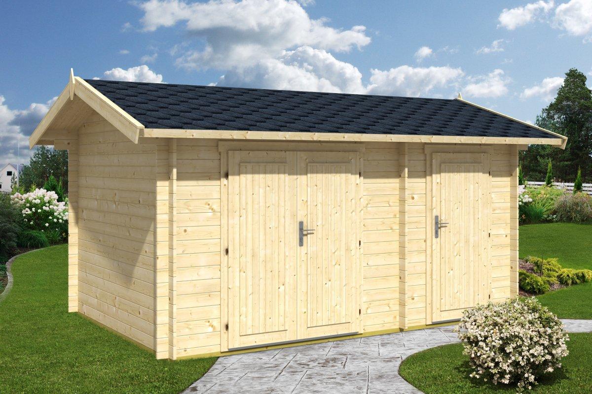 Cobertizo doble de madera 10m2 4 x 3 m 28mm casetas for Cobertizo jardin madera