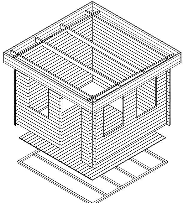 Caseta de jardín  Lucas C 9m2 / 3x3m / 40mm