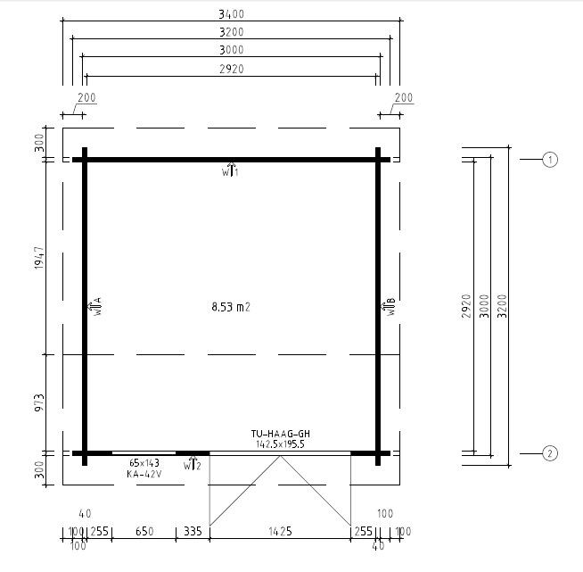 Caseta de jardín Lucas D 9m2 / 3x3m / 40mm