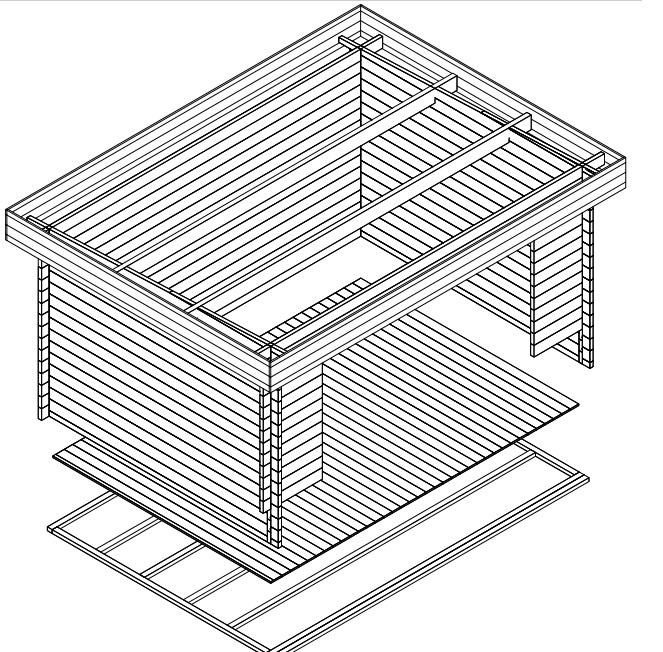 Caseta de jardín Jacob E 12m2 / 3x4 / 44mm