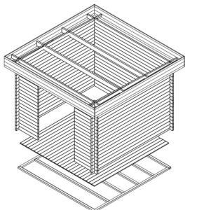 Cobertizo de jardín 9m2 / 3x3m / 40mm