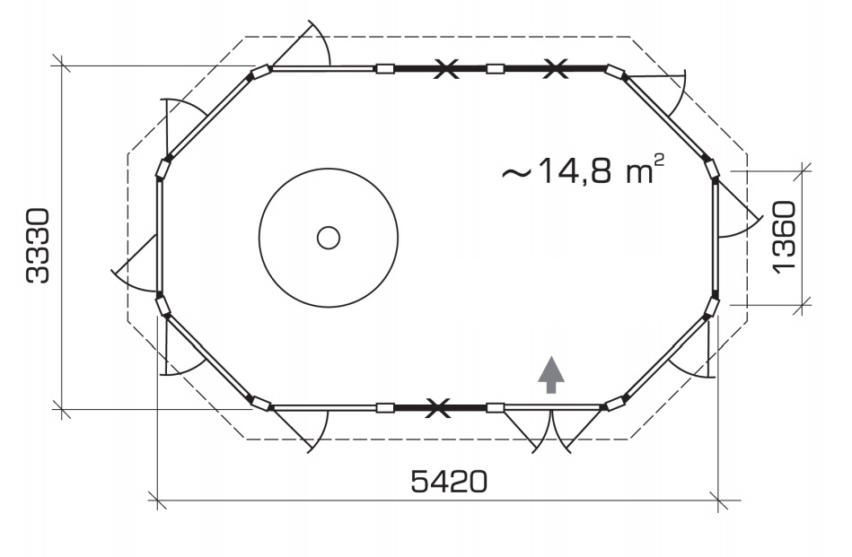 Caseta para barbacoa Seattle Albatros XL 15m2 / 5x3m / 21mm