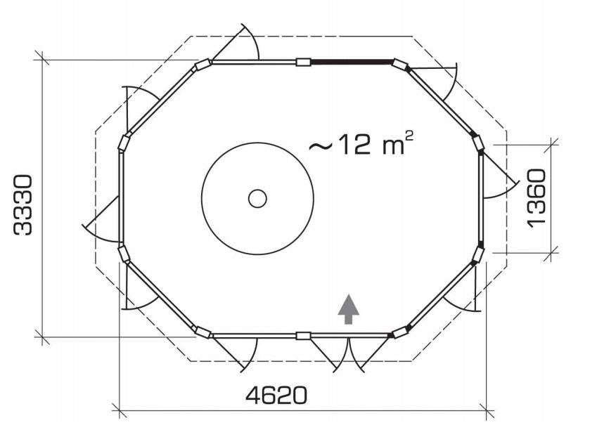 Caseta para barbacoa Seattle Albatros 12m2 / 4x3m / 21mm