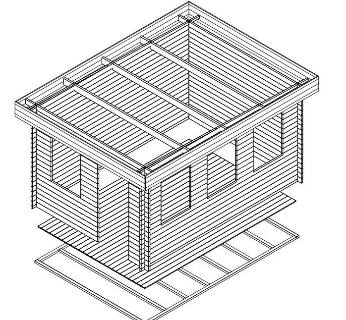 Caseta de jardín Jacob C 12m2 / 3x4 / 40mm