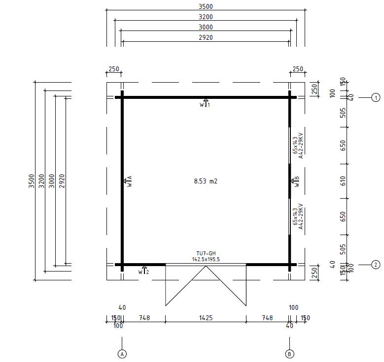 Caseta de jardín Lucas B 9m2 / 3x3m / 40mm