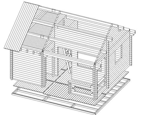 Sauna de jardín Karina 26m2 / 6x5m / 70mm