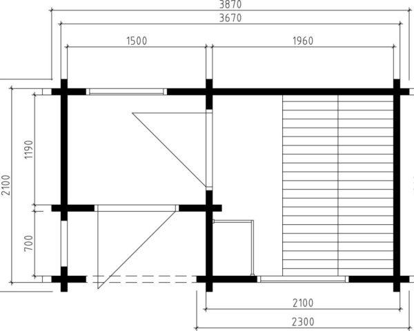 Caseta de sauna Lisette 7m2 / 2x4m / 70mm
