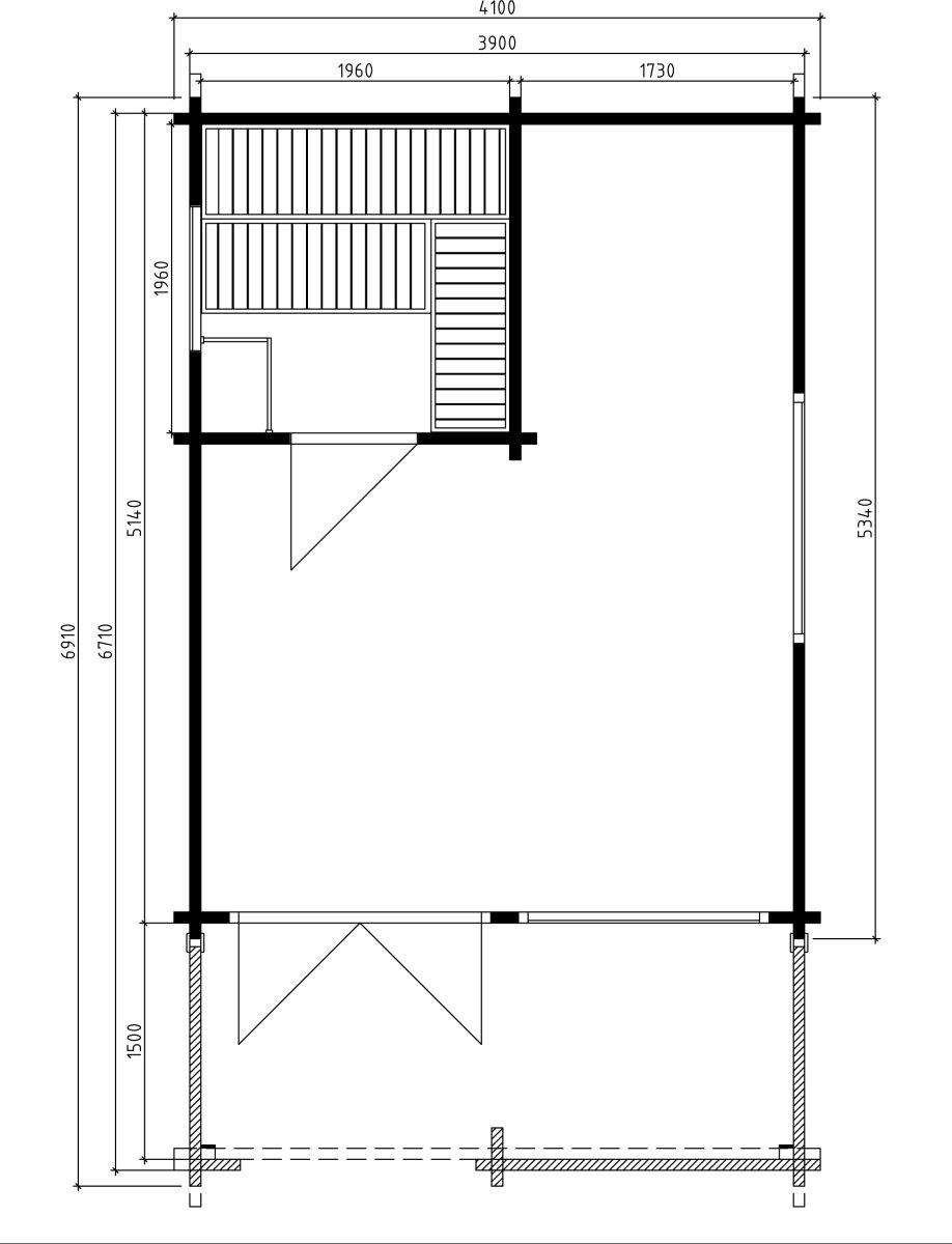 Sauna finlandesa tradicional Mika 19m2 / 4x7m / 70mm