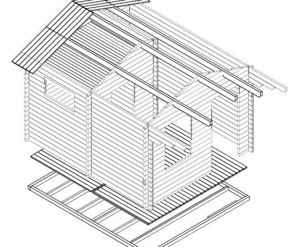 Sauna de tamaño familiar Oslo 12m2 / 3x4m / 58mm