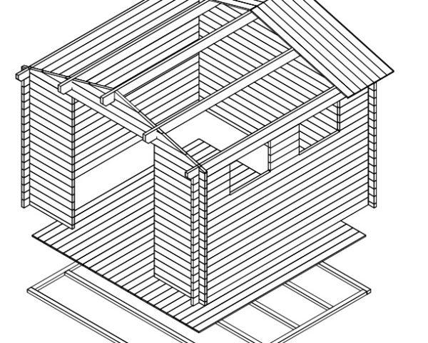 Cobertizo de jardín Nora F 9m2 / 3x3m / 40mm