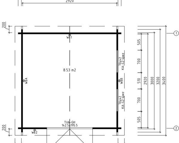 Cobertizo de jardín Lucas F 9m2 / 3x3m / 40mm